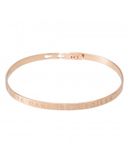 """Bracelet à message """"LA TETE DANS LES ETOILES"""" rosé"""