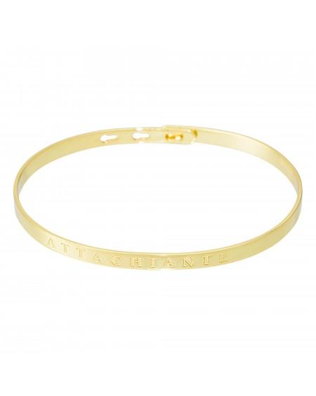 """Bracelet à message """"ATTACHIANTE"""" doré"""