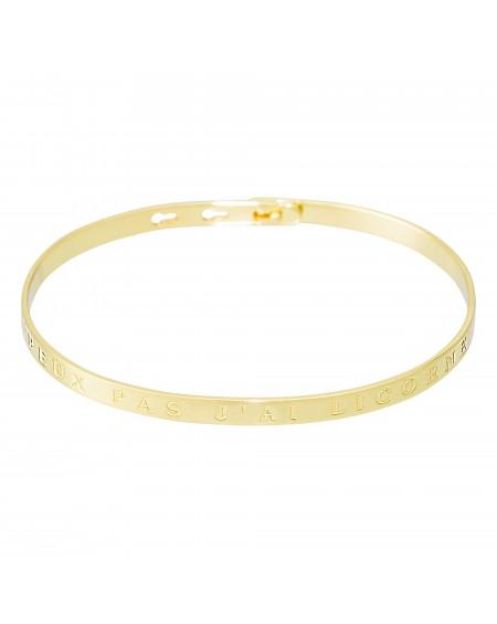 """Bracelet à message """"J'PEUX PAS J'AI LICORNE"""" doré"""