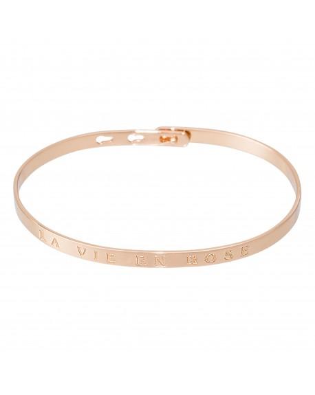 """Bracelet à message """"LA VIE EN ROSE"""" rosé"""