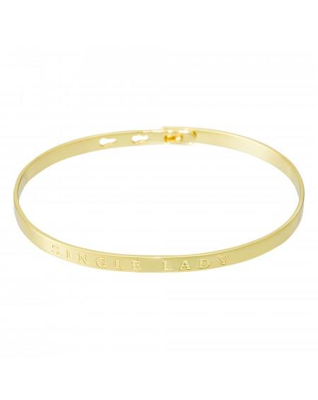 "Bracelet à message ""SINGLE LADY"" doré"