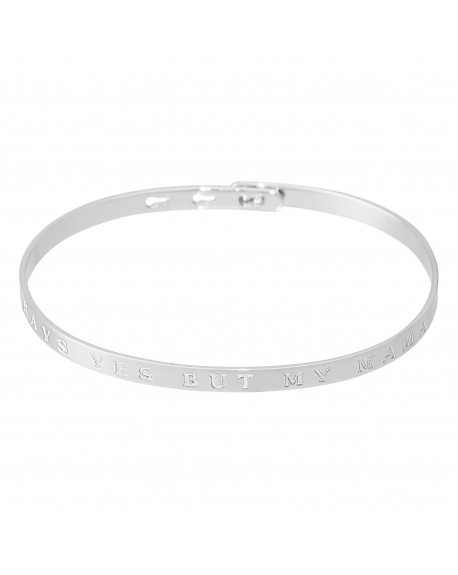 """Bracelet à message """"MY HEART SAYS YES BUT MY MAMA SAYS NO"""""""