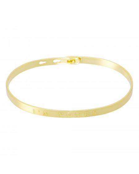 """Bracelet à message """"I'M YOURS"""" doré"""