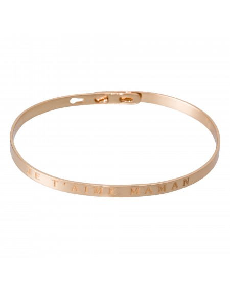 """Bracelet à message """"JE T'AIME MAMAN"""" rosé"""