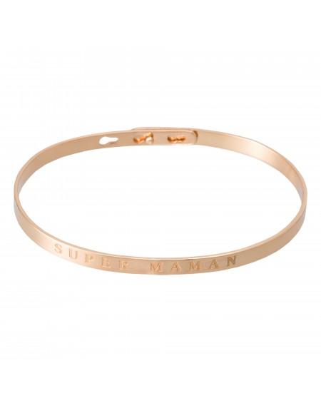 """Bracelet à message """"SUPER MAMAN"""" en Laiton rosé"""