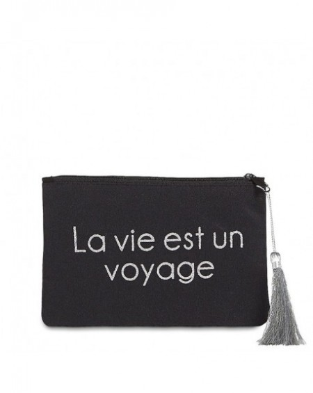 """Pochette à message """" LA VIE EST UN VOYAGE"""" Noire et Argenté - 17,5 x 11,5 x 1 cm"""