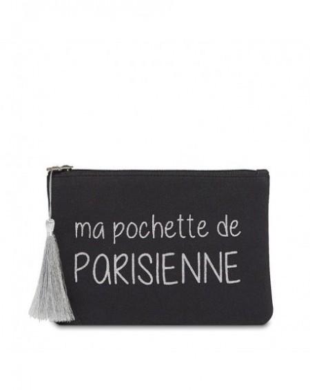 """Pochette à message """" PARISIENNE"""" Noire et Argenté - 21,5 x 15,5 x 1 cm"""