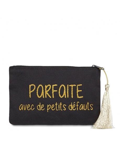 """Pochette à message """" PARFAITE AVEC DE PETITS DÉFAUTS"""" Noire et Doré - 17,5 x 11,5 x 1 cm"""