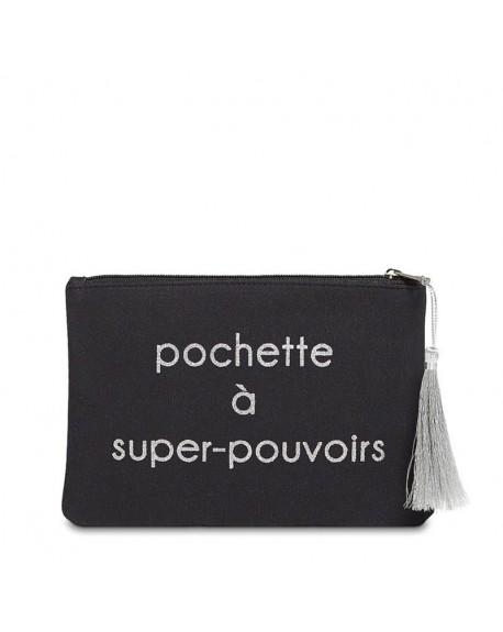 """Pochette à message """" POCHETTE À SUPER-POUVOIRS"""" Noire et Argenté - 21,5 x 15,5 x 1 cm"""