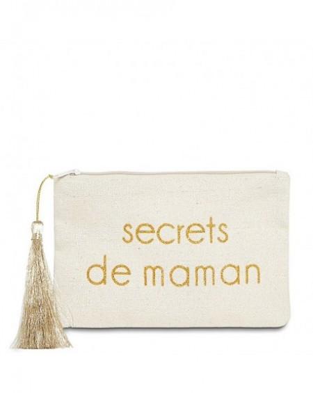 """Pochette à message """" SECRETS DE MAMAN"""" Beige et Doré - 17,5 x 11,5 x 1 cm"""
