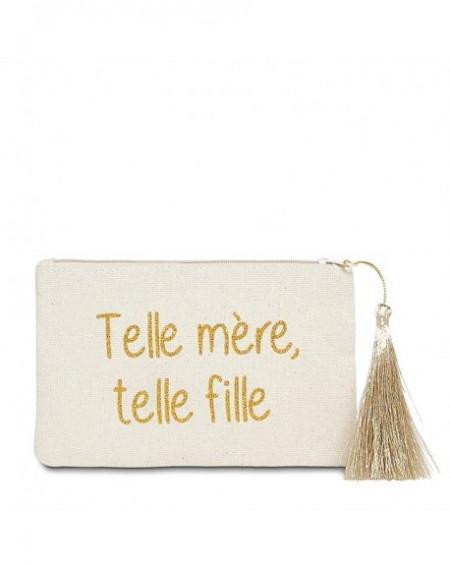 """Pochette à message """" TELLE MÈRE, TELLE FILLE"""" Beige et Doré - 17,5 x 11,5 x 1 cm"""