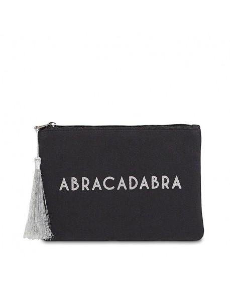 """Pochette à message """" ABRACADABRA"""" Noire et Argenté - 21,5 x 15,5 x 1 cm"""
