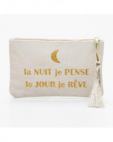 """Pochette à message """" LA NUIT JE PENSE LE JOUR JE RÊVE"""" Beige et doré - 17,5 x 11,5 x 1 cm"""