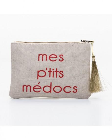 """Pochette à message """" MES P'TITS MÉDOCS ROUGE"""" Beige - 21,5 x 15,5 x 1 cm"""