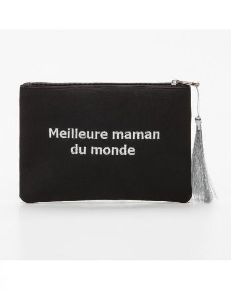 """Pochette à message """" MEILLEURE MAMAN DU MONDE"""" Noire et argenté - 21,5 x 15,5 x 1 cm"""