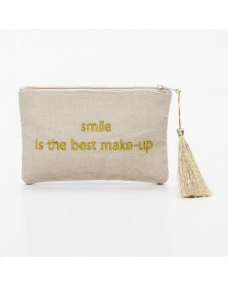 """Pochette à message """" SMILE IS THE BEST MAKE-UP"""" Beige et doré - 17,5 x 11,5 x 1 cm"""