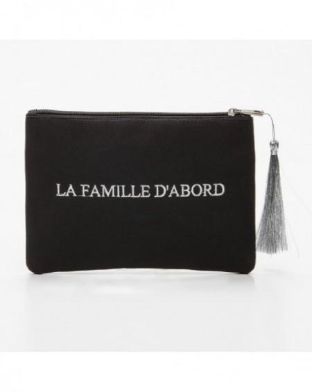 """Pochette à message """" LA FAMILLE D'ABORD """" Noire et argenté - 21,5 x 15,5 x 1 cm"""