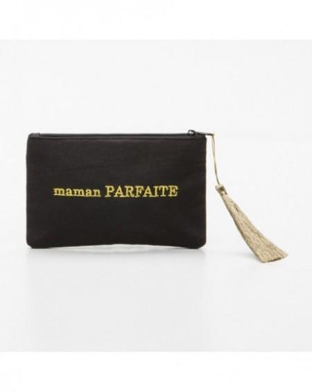 """Pochette à message """" MAMAN PARFAITE"""" Noire et doré - 17,5 x 11,5 x 1 cm"""