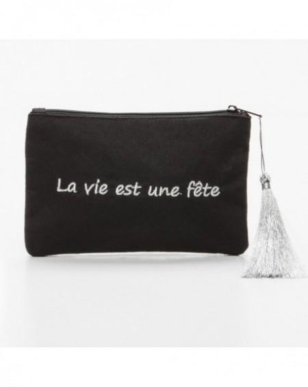 """Pochette à message """" LA VIE EST UNE FÊTE"""" Noire et argenté - 17,5 x 11,5 x 1 cm"""