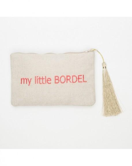 """Pochette à message """" MY LITTLE BORDEL"""" Beige et rose - 17,5 x 11,5 x 1 cm"""