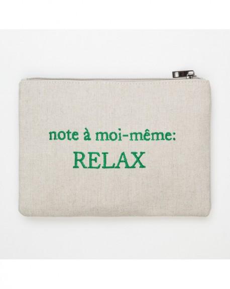 """Pochette à message """" NOTE À MOI-MÊME: RELAX """" Beige et vert foncé - 21,5 x 15,5 x 1 cm"""
