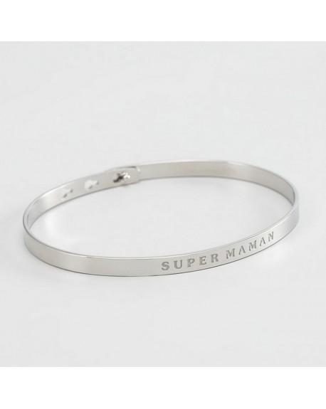 """Bracelet à message """"SUPER MAMAN"""" rosé"""