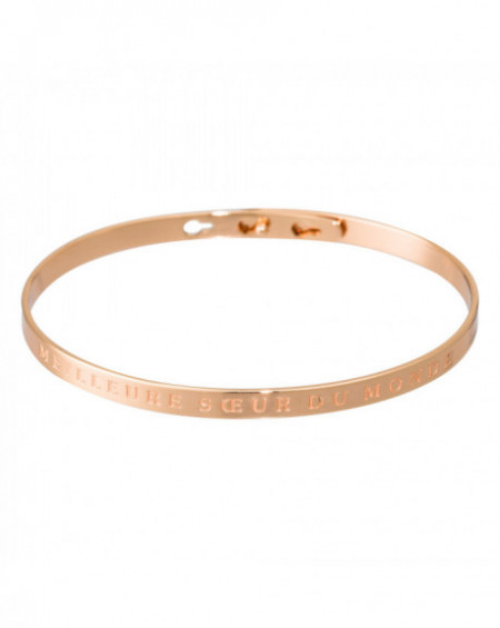 """Bracelet à message """"MEILLEURE SŒUR DU MONDE"""" Rosé"""