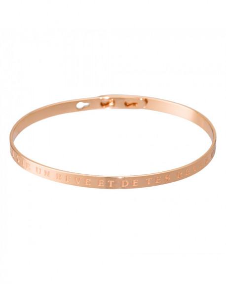 """Bracelet à message """"FAIS DE TA VIE UN RÊVE ET DE TES RÊVES UNE RÉALITÉ"""" Rosé"""