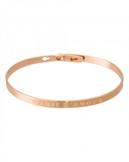 """Bracelet à message """"MAMIE D'AMOUR"""" Rosé"""