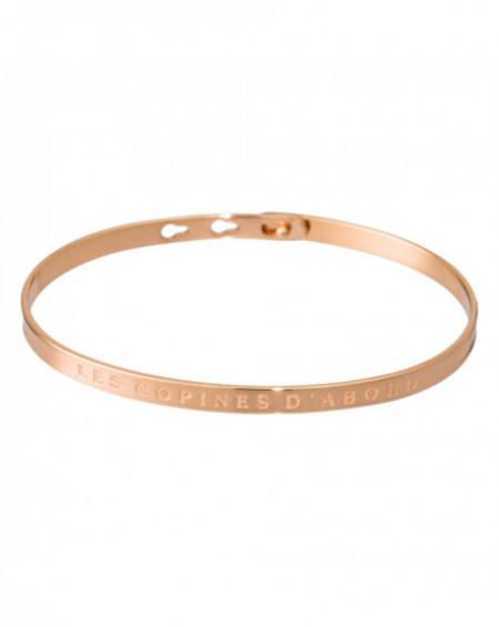 """Bracelet à message """"LES COPINES D'ABORD"""" Rosé"""