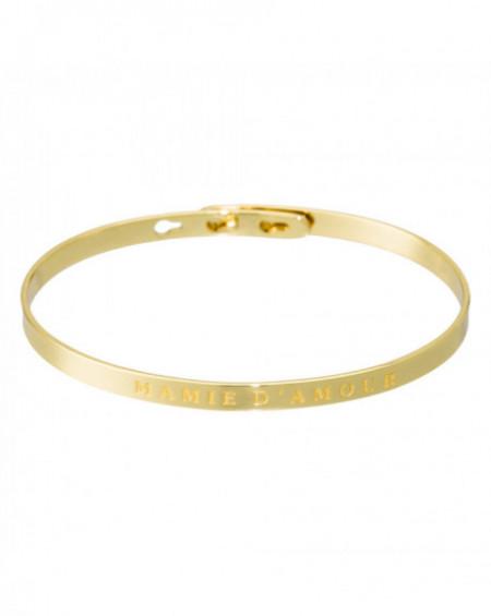 """Bracelet à message """"MAMIE D'AMOUR"""" Doré"""