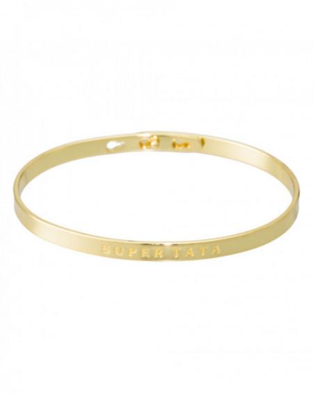 """Bracelet à message """"SUPER TATA"""" Doré"""