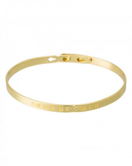 """Bracelet à message """"SOEUR DE COEUR"""" Doré"""