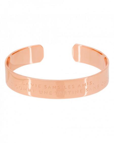 """Bracelet à message """"LA VIE SANS LES AMIS, CE SERAIT COMME UNE TARTINE SANS CHOCOLAT"""" Rosé"""