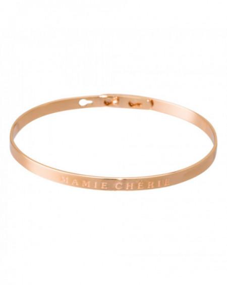"""Bracelet à message """"MAMIE CHÉRIE"""" Rosé"""