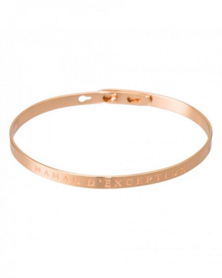 """Bracelet à message """"MAMAN D'EXCEPTION"""" Rosé"""
