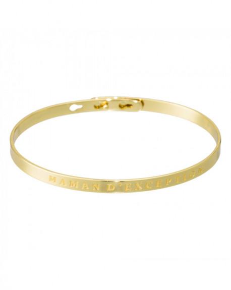 """Bracelet à message """"MAMAN D'EXCEPTION"""" Doré"""