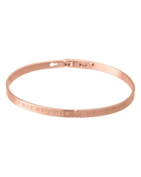 """Bracelet à message """"FRIENDSHIP NEVER ENDS"""" Rosé"""