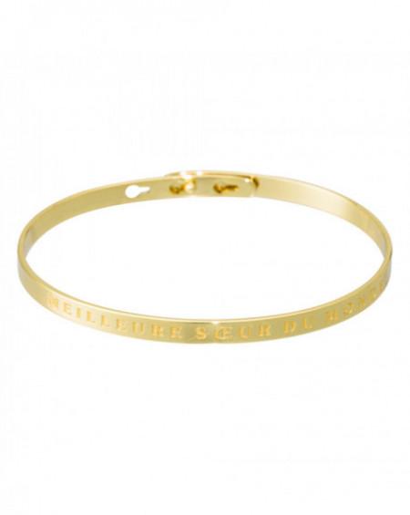 """Bracelet à message """"MEILLEURE SŒUR DU MONDE"""" Doré"""