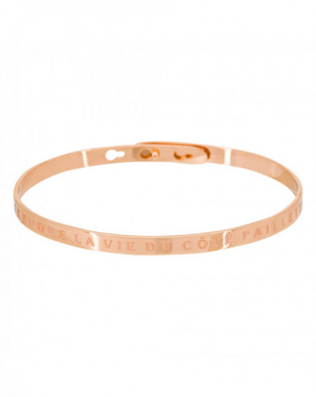 """Bracelet à message """"PRENDRE LA VIE DU CÔTÉ PAILLETTE"""" Rosé"""