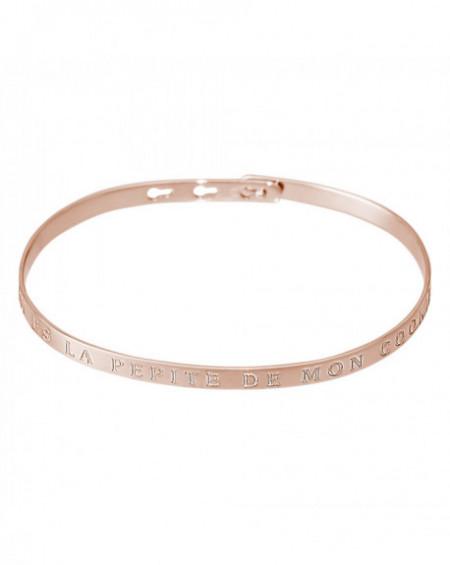 """Bracelet à message """"TU ES LA PEPITE DE MON COOKIE"""" Rosé"""