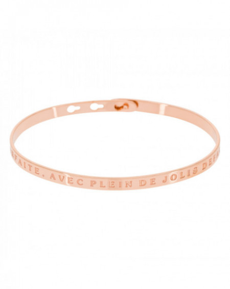 """Bracelet à message """"PARFAITE, AVEC PLEIN DE JOLIS DÉFAUTS"""" Rosé"""