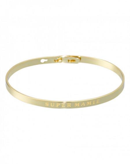 """Bracelet à message """"SUPER MAMIE"""" Doré"""