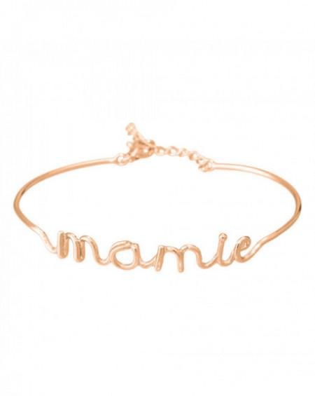 """Bracelet à message """"MAMIE"""" Rosé"""