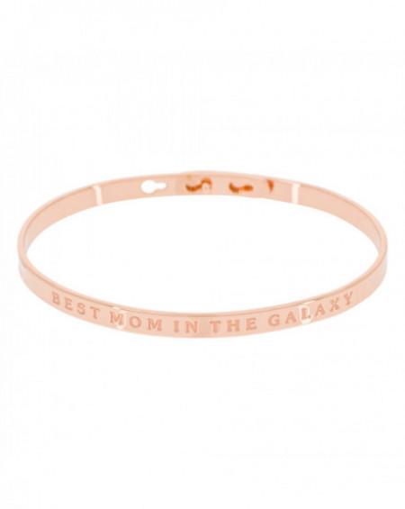 "Bracelet à message ""BEST MOM IN THE GALAXY"" Rosé"