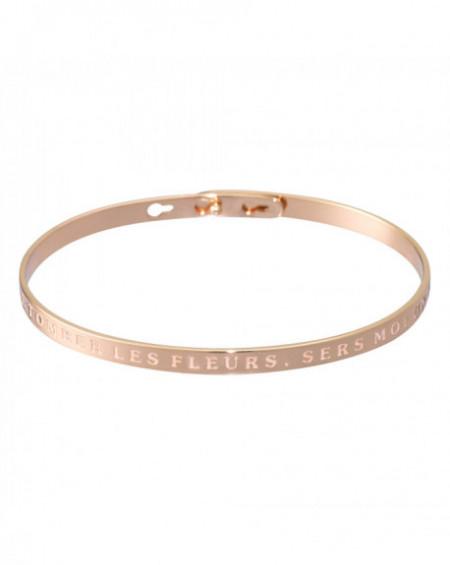 """Bracelet à message """"LAISSE TOMBER LES FLEURS, SERS MOI UN MOJITO"""" Rosé"""