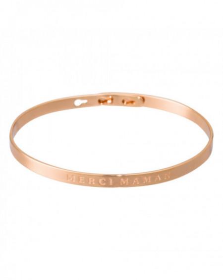 """Bracelet à message """"MERCI MAMAN"""" Rosé"""