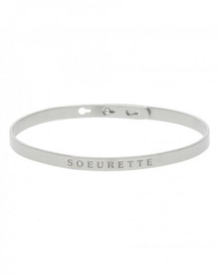 """Bracelet à message """"SOEURETTE"""" Argenté"""