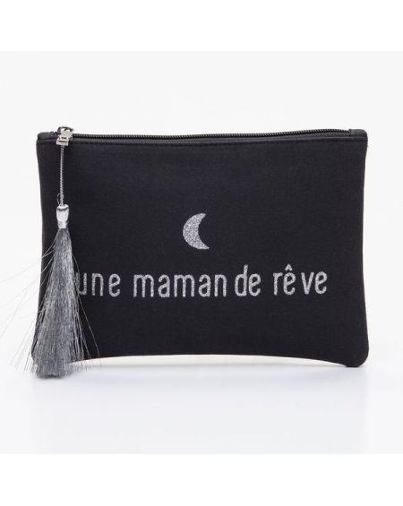 """Grande pochette noire message """"une maman de rêve"""" argenté"""