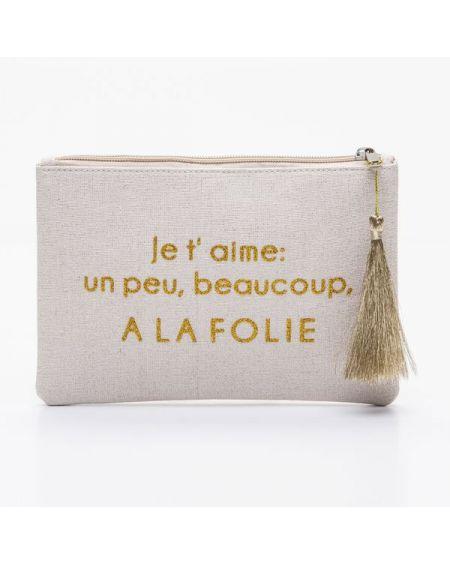"""Grande pochette beige message """"Je t'aime: un peu, beaucoup, A LA FOLIE"""" doré"""